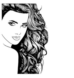 face a model with long black hair vector image