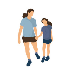 Family walking mother and daughter holding hands vector