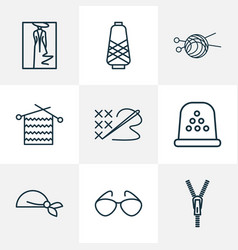 fashionable icons line style set with fashion vector image