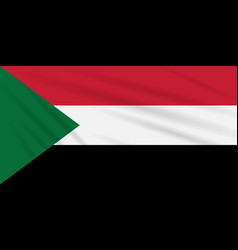 Flag sudan swaying in the wind realistic vector