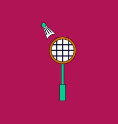 Flat icon design collection kids badminton vector