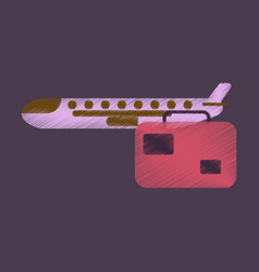 flat icon in shading style aircraft luggage vector image
