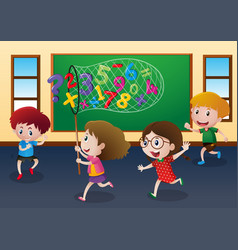 four kids catching numbers in classroom vector image