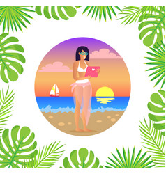 freelancer woman with laptop at sunset beach vector image