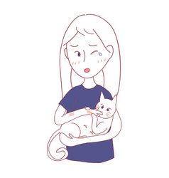 Girl petting cat and was bited him vector