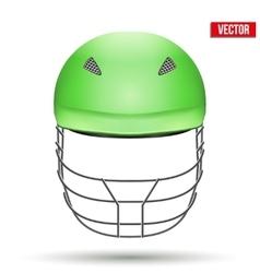 Green Cricket Helmet Front View vector image