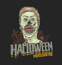Halloween massacre zombie head vector