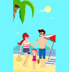 happy family at beach smiling parents with child vector image