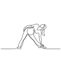 Happy pregnant woman making yoga exercise vector