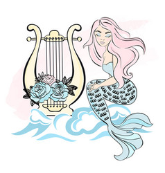 Harp mermaid winter christmas sea ocean vector
