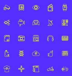 Hitechnology line icons green color vector