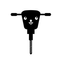 Hydraulic hammer kawaii character vector