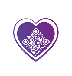 i love you qr code in purple heart on white vector image