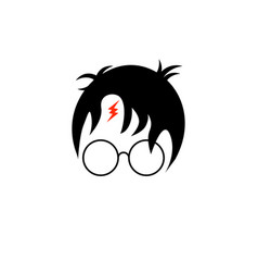 Icon of a wizard boy with glasses vector