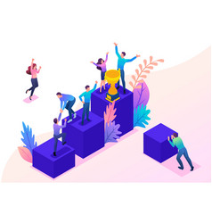 Isometric bright successful young team vector