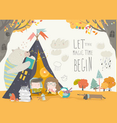 Kids reading book with animals in a teepee tent vector
