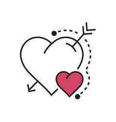 Line heart and arrow pink vector