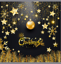 Luxury elegance gold glitter merry christmas vector
