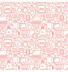 Makeup beauty care red white seamless pattern with vector