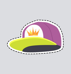 male colourful rap cap isolated patch vector image