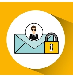 Man cartoon email digital technology security vector