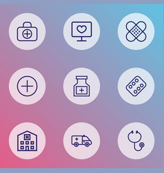 medicine icons line style set with diagnosis vector image