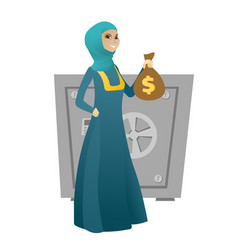 Muslim business woman holding a money bag vector