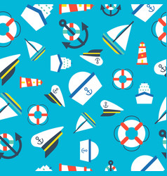 nautical and ocean seamless pattern flat design vector image