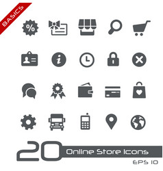 Online store icons - basics vector