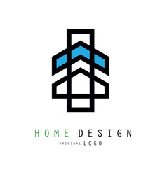 original linear logo for house design company or vector image