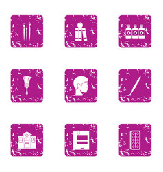 Paint master icons set grunge style vector