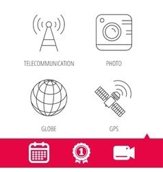 Photo camera globe and gps satellite icons vector