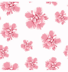 Pink camelia peony flowers seamless pattern vector