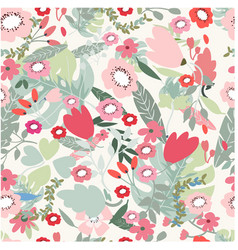 pink red and jungle flower seamless pattern vector image