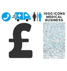 Pound Sterling Icon with 1000 Medical Business vector