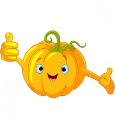 pumpkin character giving thumbs up vector image