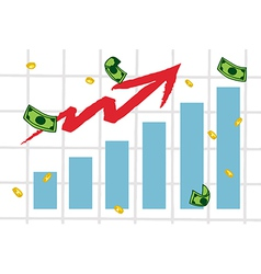 Raising Charts And Arrow With Money vector image vector image