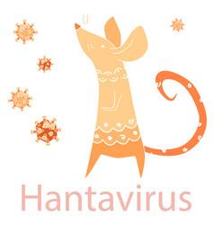 Rat and hantavirus text on white isolated backdrop vector