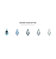 Record voice button icon in different style two vector