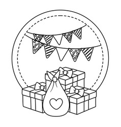 round frame with gift boxes in black and white vector image
