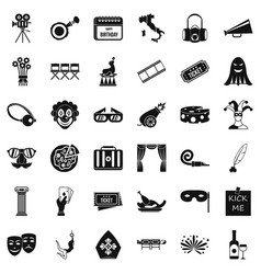 Scene icons set simple style vector