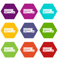 School bus icon set color hexahedron vector