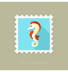 Sea Horse flat stamp with long shadow vector image