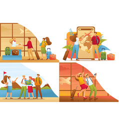Set 2d flat concepts people on vacation vector