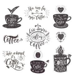 Set of coffee quotes hand-drawn lettering vector