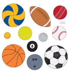 Set of sport balls hand drawn colored vector