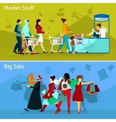 Shopping Compositions Set vector image