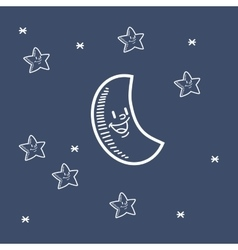 Smiling moon with stars doodle drawing image vector