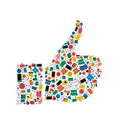social media like hand icon shape concept design vector image vector image