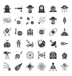 space exploration icon set glyph design vector image